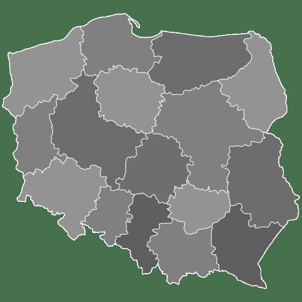 Obszar działania Omega Security - mapa Polski
