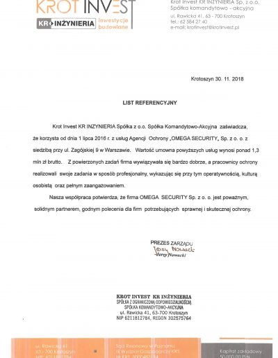 Omega Security - referencje i rekomendacje firmy ochroniarskiej