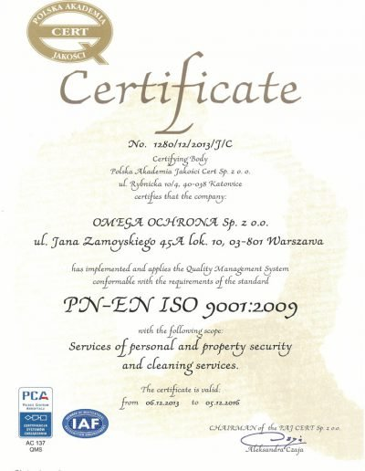 Omega Security - certyfikat rzetelności